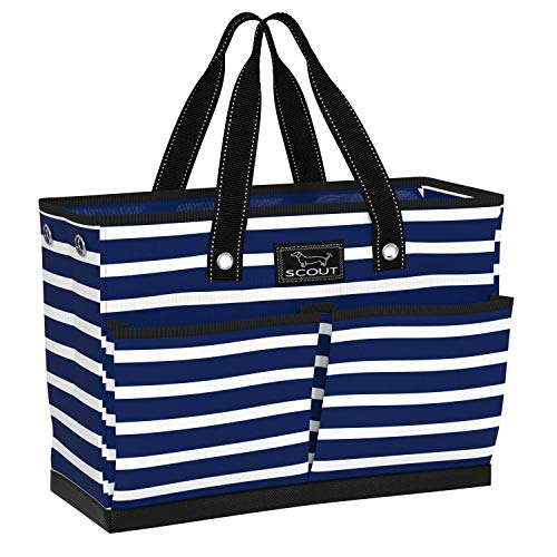 SCOUT BJ Bag, Large Tote Bag with 4 Exterior Pockets & Interior Zippered Compartment, Lightweight Utility Tote Bag for Teachers and Nurses in Nantucket Navy Pattern (Multiple Patterns Available)