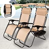 2 x Folding Armchair Beach Deck Chair Recliner Lounge Chaise-Longue for Picnic Pool Hiking Fishing Camping Outdoor Stool
