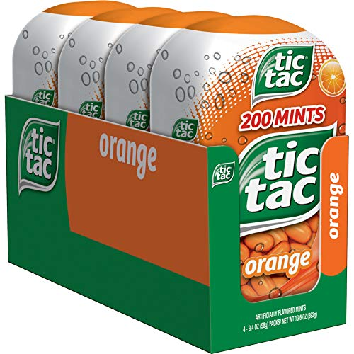 Tic Tac Fresh Breath Mints, Orange, Bulk Hard Candy Mints, 3.4 oz Bottle Packs, 4 Count
