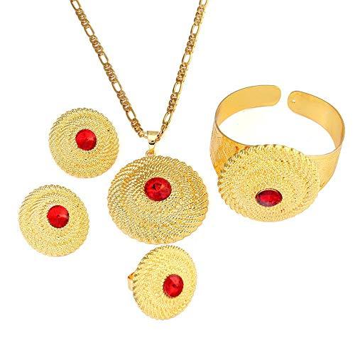 Collar de color dorado, pendientes, brazalete, conjuntos de joyas de Dubai, conjunto de joyas de Oriente Medio, Turquía, Irak, África, Nigeria
