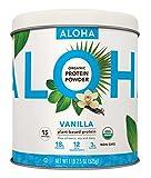ALOHA Organic Plant-Based Protein Powder - NO-STEVIA Vanilla - Keto Friendly Vegan Protein with MCT Oil, 18.5 oz, Makes 15 Shakes, Vegan, Gluten-Free, Non-GMO, Erythritol-Free, Soy-Free, Dairy-Free & Only 3g Sugar