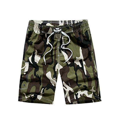 YoungSoul Herren Camouflage Badehose/Surfer Boardshorts/Beachshorts Badeshorts Sommer Strand/Knielang Armeegrün EU XL/Etikette XXL