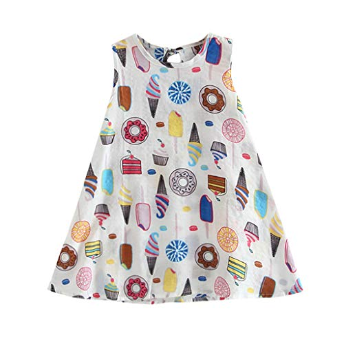 Baby Dresses Newborn Girls 18-24 Months White Toddler Baby Kids Girls Sleeveless Ice Cream Cake Print Dresses Casual Clothes Ramadan Festival 4th of July Gifts