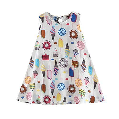 ZZXIAN jurken voor meisjes, feestelijk, casual, zonder mouwen, print, zomerjurk, babyjurk, babykleding, prinses, boho, chiffon