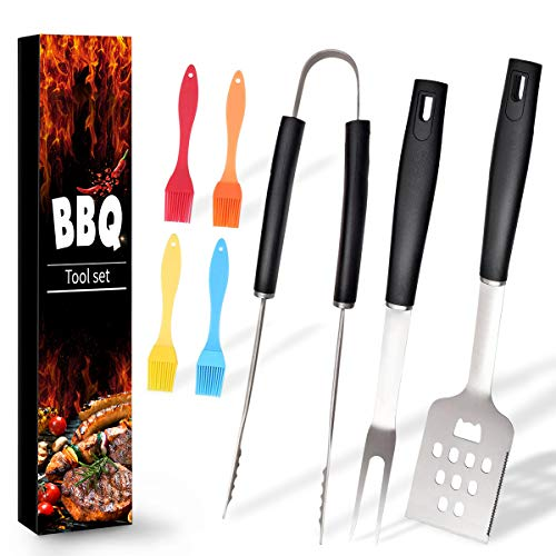 Review Ranphykx BBQ Grill Tool Set. 7pcs Barbecue Grilling Accessories, Includes - Stainless Steel S...