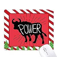 黒牛の動物のシルエットのナチュラル ゴムクリスマスキャンディマウスパッド