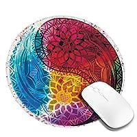 マウスパッド 円形 かわいい オフィス最適 水彩画 陰陽 カラフル 曼荼羅 上品ゲーミング エレコム 防水性 耐久性 滑り止め 多機能 おしゃれ ズレない 直径20cm