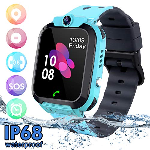 SZBXD Kids Waterproof Smart Watch Phone, LBS/GPS Tracker Touchscreen Smartwatch Games SOS Alarm Clock Camera Smart Watch Christmas Birthday Gifts for School Boy Girls (Blue)
