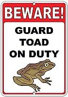 注意してください! 義務のおかしい引用アルミニウムメタル看板にヒキガエルをガードします。