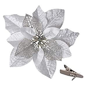 15 PCS Christmas Glitter Artificial Poinsettia Flowers Artificial Wedding Flowers Decorations Xmas Tree Ornaments with Clips (Silver)