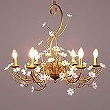 no-branded ZHQHYQHHX - Lámpara colgante de hierro dorado con forma de flor para dormitorio, comedor, iluminación