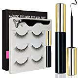 Magnetic Eyeliner and Magnetic Eyelash Kit, Magnetic Eyelashes with Eyeliner, Multi Styles Ultra-thin 3D Reusable Magnets False Lashes Natural Look with Applicator for Party Dating Wedding (S3)