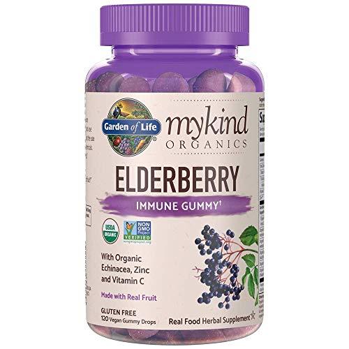 Garden of Life mykind Organics Elderberry Gummies - Immune Support Supplement with Organic Fruit & Herbal Blend of Elderberry, Echinacea, Zinc, Vitamin C - 120 Vegan, Non-GMO & Gluten Free Gummies