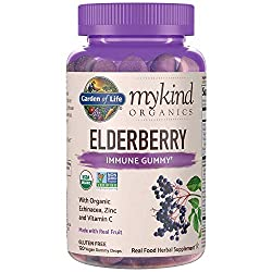 Garden of Life mykind Organics Elderberry Plant Based Immune Gummy - 120 Real Fruit Gummies for Kids