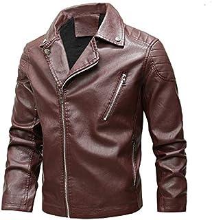 HAWEEL Fashion Lapel Plus Velvet Motorcycle Leather Coat Windbreaker Jacket