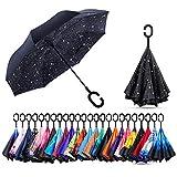AmaGo Winddichter Umgekehrter Regenschirm UV-Schutz Zweilagiger Umklappbarer Langer Selbststehender...