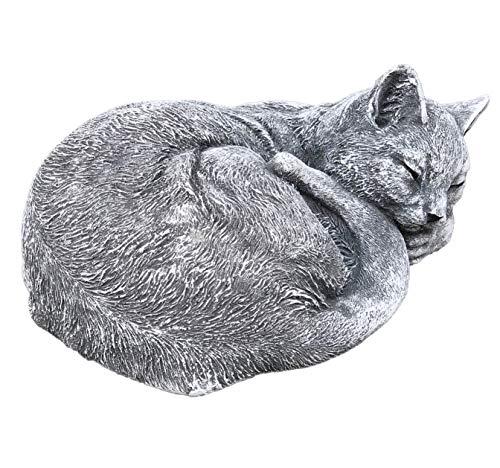 Sculpture en pierre Chats Klara dormant, massive Pierre fonte, résistant au gel