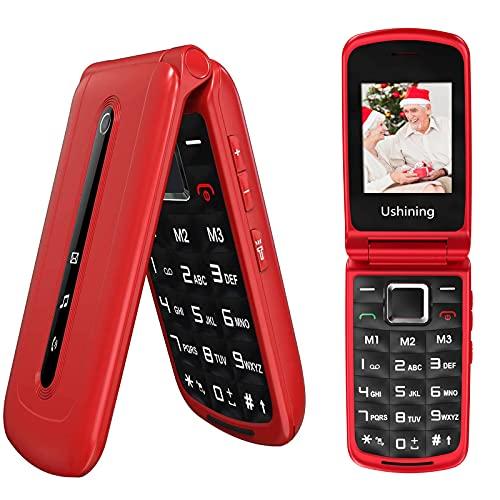 USHINING 3G Seniorenhandy Klapphandy ohne Vertrag, Großtasten Handy für Senioren mit Notruftaste Dual SIM Taschenlampe Kamera FM Radio 2,4 Zoll Farbdisplay - Rot