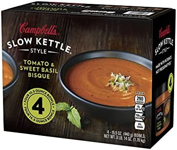 Campbell s Slow Kettle Tomato Sweet Basil Bisque 15 5 oz 4 pk product image