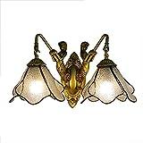DALUXE Tiffany Lights Wall Head, Pantalla de Vidrio de Manchas, Espejo de baño Faro Luz de Pared Luz de iluminación...