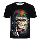 RelaxLife Hommes 3D Imprimé T-Shirts Été 3D T-Shirt Imprimé Animal Singe Gorille À Manches Courtes Conception Drôle Casual Top T-Shirt Hommes Grande Taille 6XL
