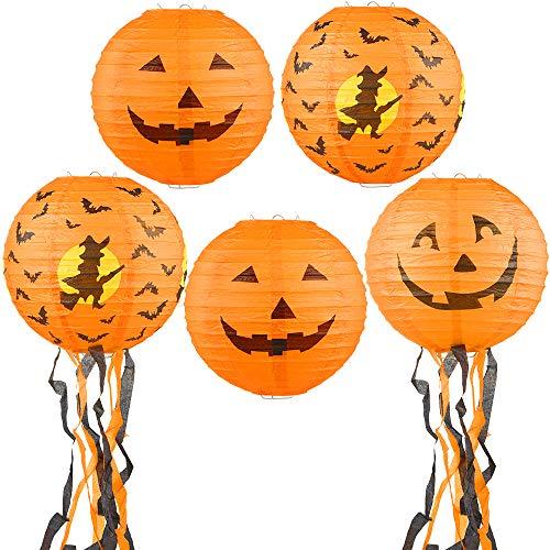 GeeRic Papier Laterne Lampions Kürbis für Saint Martin Festival,Rund Lampenschirm Papierlaterne Halloween Dekoration - (5er Packung)