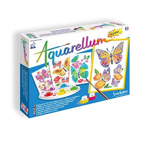 Sentosphere 3906500 Aquarellum Junior, Aquarell Ausmalbilder-Set für Kinder, Motiv Schmetterling & Blume