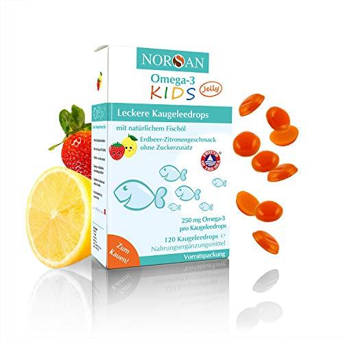 NORSAN Omega 3 KIDS Jelly zum Kauen I Fruchtige Kaugeleedrops mit Omega 3 für Kinder und Vitamin D3 | 120 Stück