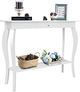 ChooChoo Entryway Console Table with Drawer, Behind Sofa Tables Narrow, Hallway Table for Entryway Easy Assembly - White