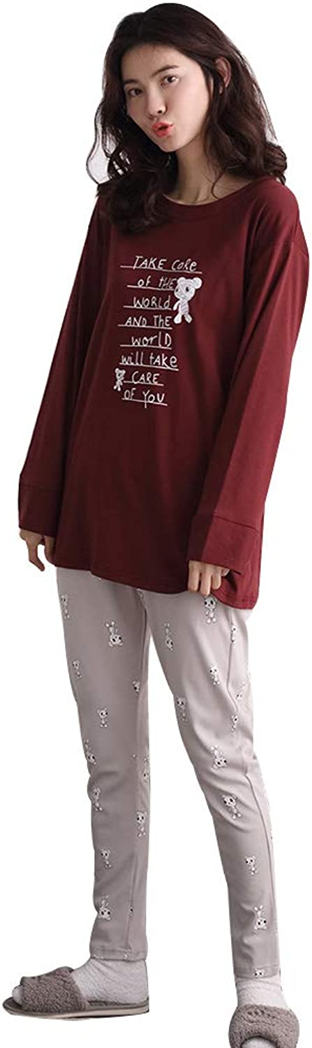 Pajamas Ladies Spring and Autumn LongSleeved Pajamas Loose Casual Women's Home Clothing Women's Clothes (color   RED, Size   XL)
