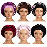 6 Pack Satin Sleep Cap for Women Soft Elastic Wide Band Hat Night Sleeping Head Cover for Good Sleeping (Normal Size)