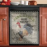 Country Rooster Kitchen Cabinet Door Sticker,Sunflower Sunshine Dishwasher Cover,Vintage Cock Refrigerator Sticker Wallpaper,Farm Fresh Chickens Washing Machine Vinyl Decals