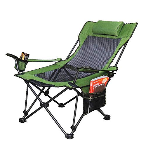 Opvouwbare campingstoel met kussen Lumbale rugsteun Extra grote draagbare quad-stoelen, bekerhouder, ondersteuning 264 LBS