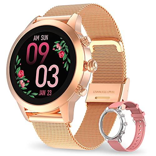 Smartwatch Mujer, Aney Well Reloj Inteligente IP68 con Oxígeno Sanguíneo Pulsómetro, Monitor de Sueño, Notificaciones Inteligentes, Reloj Deportivo Mujer con Podómetro Caloría para Android iOS