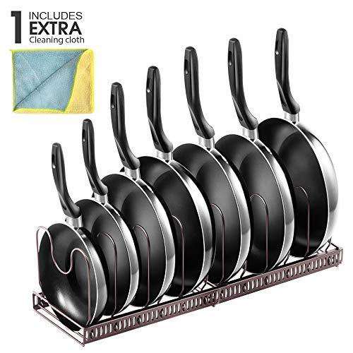 MASTERTOP Organizer per Pentole da Cucina con Coperchio e 3 Pezzi per Proteggere Padelle da Cucina e Padelle con 7 Scomparti Regolabili