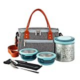 Lille Home Lunch Box Set, A Vacuum Insulated Bento/Snack Box Keeping Food Warm for 4-6 Hours, Two Stainless Steel Food Containers, A Lunch Bag, A Portable Cutlery Set (Blue)