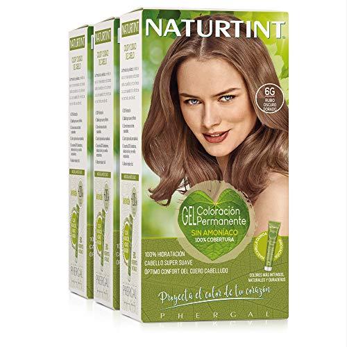 Naturtint Coloración 6G Rubio Oscuro Dorado. Tinte sin Amoniaco. 100% Cobertura de canas e Hidratación. Ingredientes y Aceites Vegetales....