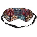 Wrution Schlafmaske, verstellbare Träger, super weich, für Damen und Herren, bunt, Vintage-Blumen- und Mandala-Elemente, personalisierbar