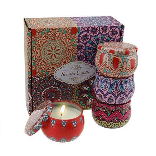 Kakacoo Duftkerzen Set, natürliches Sojawachs, Aromatherapie-Kerzen, 4 dekorative Kerze Geschenkset für Yoga,Weihnachten, Geburtstag, Valentinstag (Rose, Zitrone, Kakao, Lavendel) (Color)