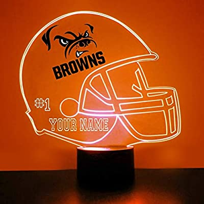 Mirror Magic Light Up LED Lamp - Football Helmet Night Light for Bedroom with Free Personalization - Features Licensed Decal and Remote (Cleveland Browns)