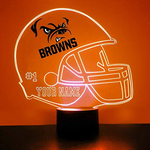 Cleveland Browns Football Helmet Sports Fan Lamp / Night Light - LED - Personalize for Free - Featuring Licensed Decal