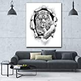 RTCKF Hot Pencil Draw Jumping Tiger HD Wall Art Pictures for Living Room Posters Modern Animals Print Canvas Oil Paintings 50x70CM (Sin Marco)