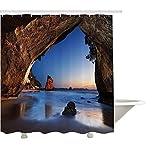 GWFVA Natürliche Höhlendekorationssammlung, Loch im majestätischen Felsen das Meer Zeland Dream Magical Spot Calm View, Badezimmer-Duschvorhang aus Polyestergewebe, Grau-Blau