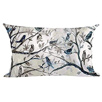 Ramirar Ink Painting Watercolor Blue Grey Lovely Birds Tree Leaves Decorative Lumbar Throw Pillow Cover Case Cushion Home Living Room Bed Sofa Car Cotton Linen Rectangular 12 x 20 Inches