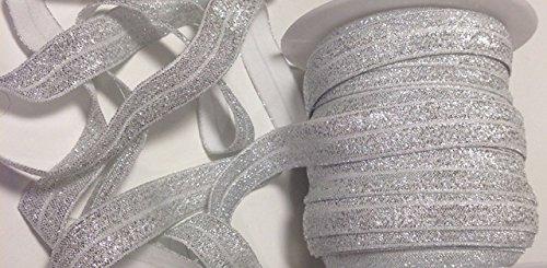 YYCRAFT 5/8' 15 Yards Glitter Fold Over Elastic Stretch Foldover FOE Elastics for Hair Ties Headbands (Silver)