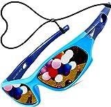 ATTCL Mixte Enfant Sport Lunettes De Soleil Polarisées UV400 Ultra Léger Flexible Cadre 5025 blue blue