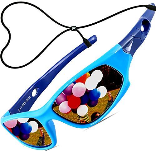 ATTCL Kinder Sonnenbrille TR90 Polarisierte Sportbrille für Jungen und Mädchen Alter 3-10 5025 blue-blue