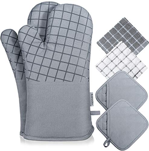 Koroda Oven Mitts and Pot Holders Sets: 550°F High Heat Resistant Oven Mitts with Kitchen Towels Thick Cotton Oven Gloves with Non-Slip Silicone for Cooking and Baking (6Pcs, Grey)