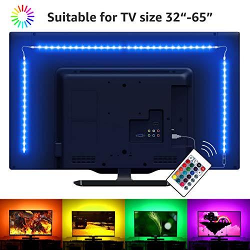 LE Striscia LED RGB 2m 5050 SMD, USB Alimentata e Telecomando Wireless RF, Striscia Luminosa Retroilluminazione TV con 16 Colori Dimmerabili per Monitor PC TV da 32-65 pollici (4 Strisce LED da 50 cm)