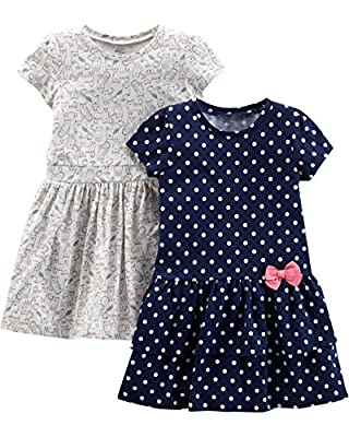 Simple Joys by Carter's Girls' Toddler 2-Pack Short-Sleeve and Sleeveless Dress Sets, Navy Dot/Gray Kitty, 3T from Carter's Simple Joys - Private Label